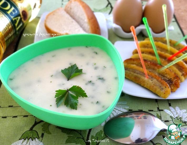 Рецепт: Картофельный крем-суп с жареными бананами