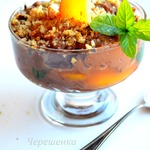 Пудинг с молочным шоколадом и карамелизированным нектарином