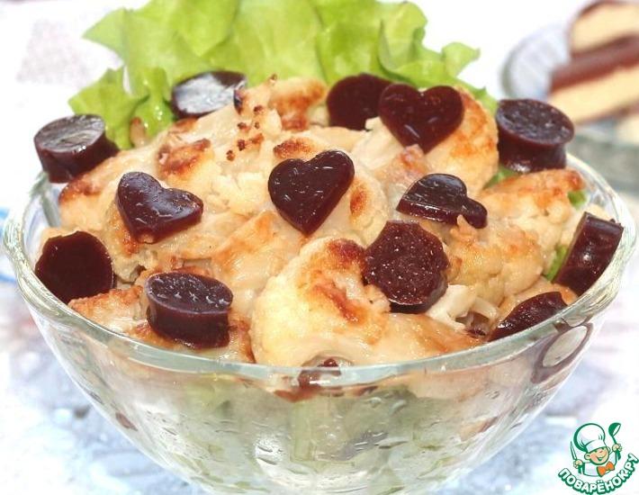 Рецепт: Карамельная цветная капуста с шоколадным желе