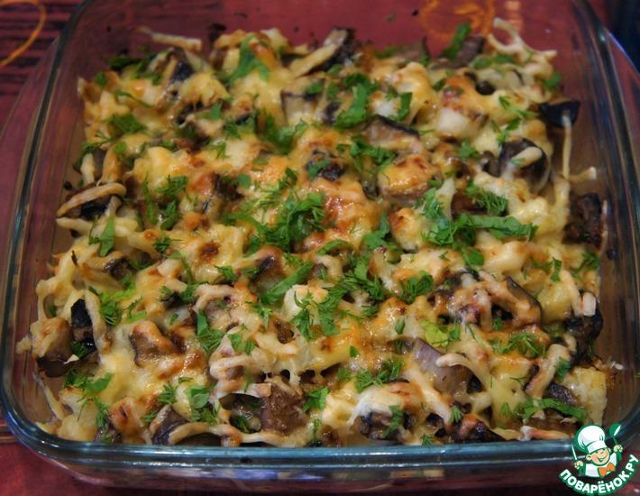 Рецепт: Грибы, запеченные с цветной капустой