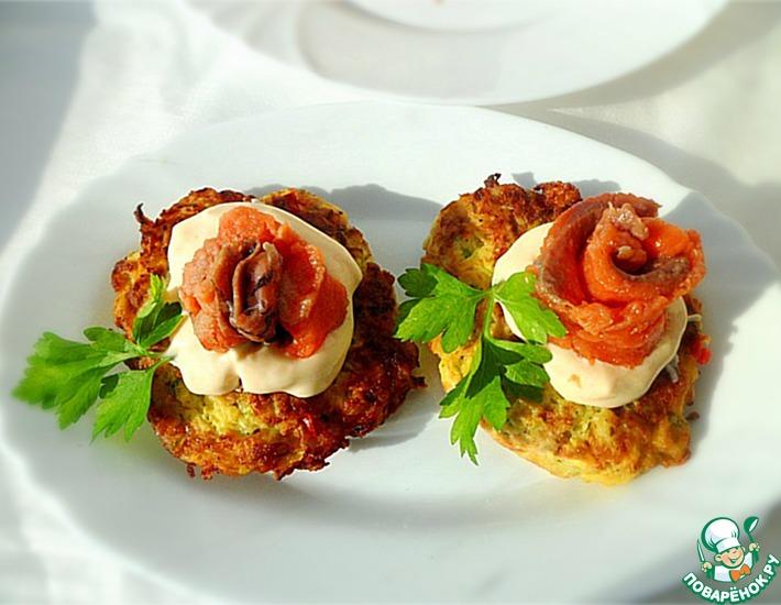 Рецепт: Оладьи из кабачков и кольраби с сыром