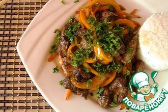 Рецепт: Куриная печень с овощами в китайском варианте