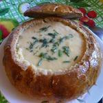 Овощной суп-пюре с мясом в хлебной мисочке