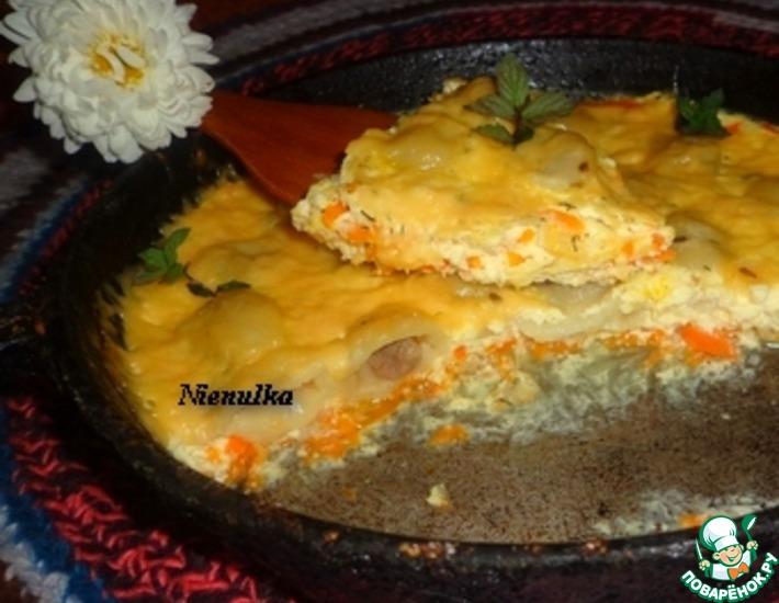 Рецепт: Запеканка Пельмени в омлете