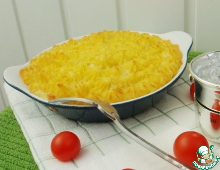 Рецепт: Филе семги, запеченное под картофельным пюре