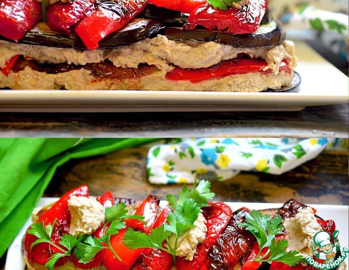 Рецепт: Баклажанный закусочный торт в стиле Баба Гануш