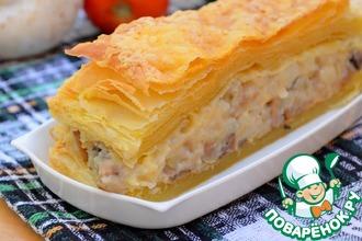 Рецепт: Слоеный закусочный пирог с грибами и овощами