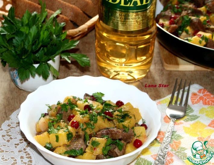 Рецепт: Жаркое из говядины и тыквы с клюквой