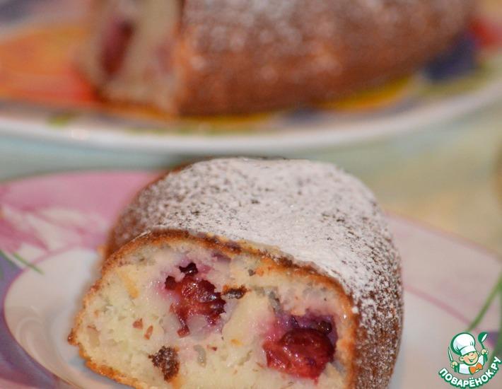 Рецепт: Миндально-вишневый пирог на кефире