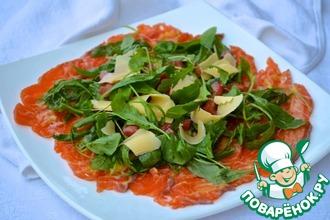 Рецепт: Карпаччо из лосося с рукколой и горчичным соусом