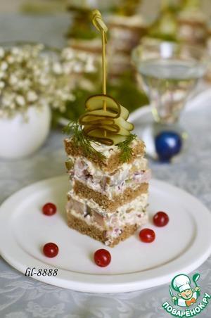 Закусочный торт с сельдью – кулинарный рецепт