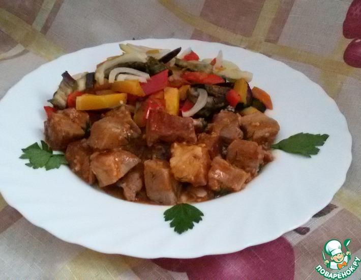 Рецепт: Свинина с тыквой и баклажанами