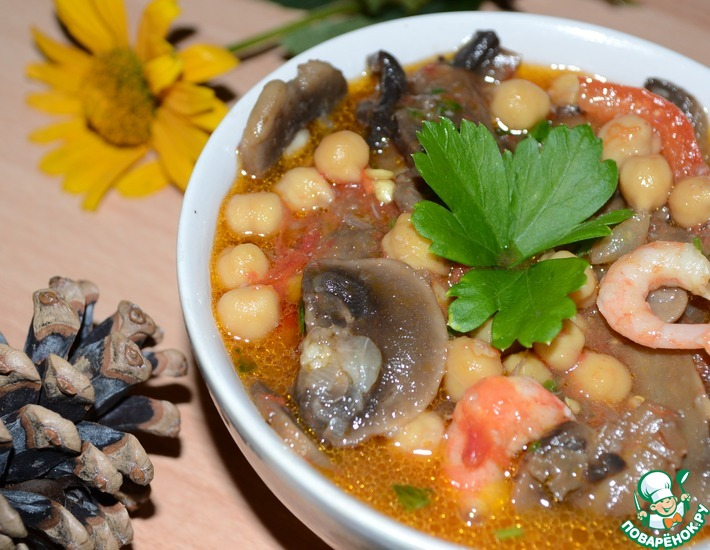 Рецепт: Нут с грибами, креветками и овощами