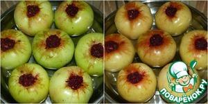 Аккуратно начинить яблоки свекольной массой. Поставить форму с начиненными яблоками в аэрогриль.   Установить параметры: температура 180 градусов, скорость вентилятора - низкая   Печь яблоки надо 10-15 минут, в зависимости от размера и от зрелости.