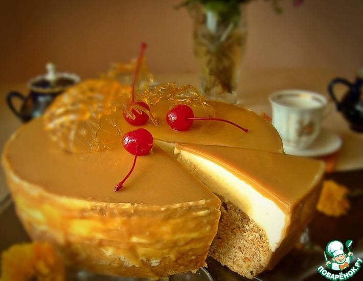 Фруктово карамельный бисквитный торт