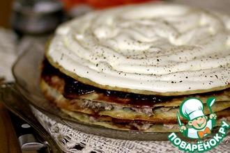 Рецепт: Закусочный торт с луковым мармеладом и мясом