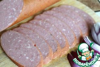 Рецепт: Колбаса домашняя Есенинская варено-копченая