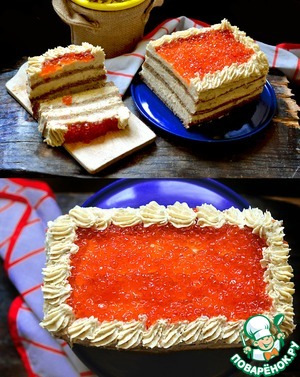 Herring cake with red caviar