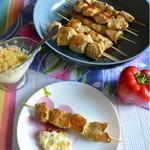 Куриные шашлычки с чесночным соусом