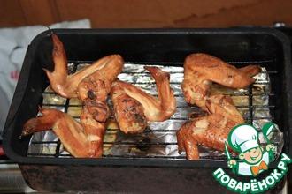 Рецепт: Куриные крылышки горячего копчения