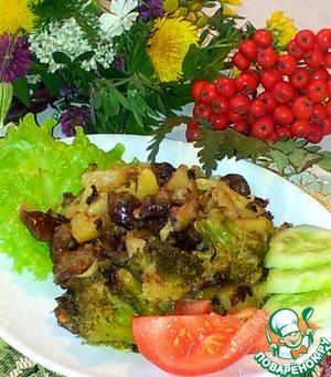Рецепт Жареные грибы с картофелем и брокколи