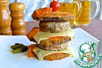 Рецепт: Двойной грибной чизбургер в баклажане