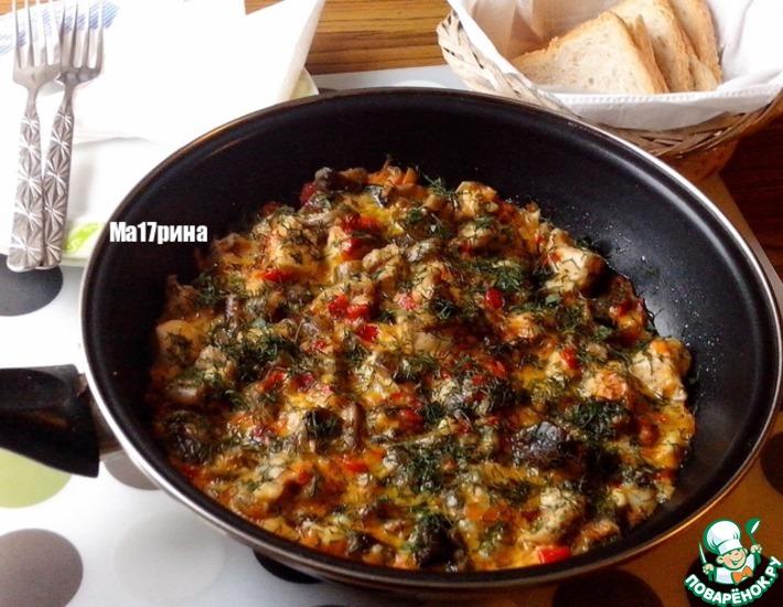 Рецепт: Нежное филе с овощами и грибами