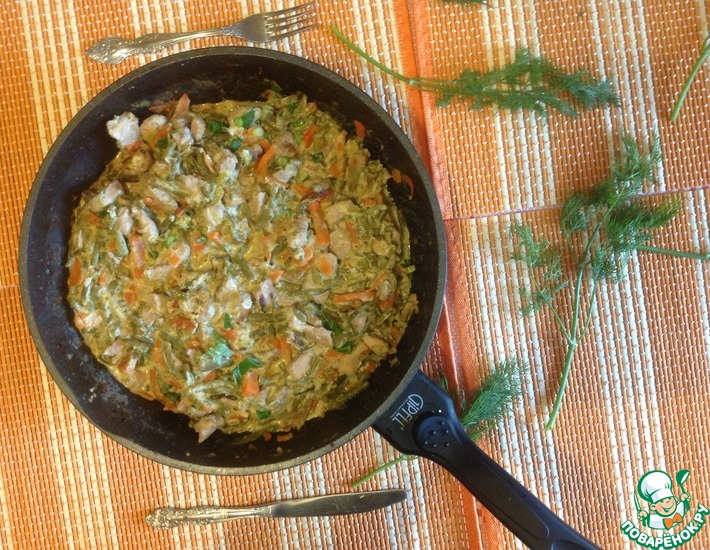 Рецепт: Свинина с овощами в сливочном соусе