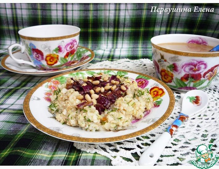 Рецепт: Каша на бульоне с красным луком и кедровыми орехами 7 злаков