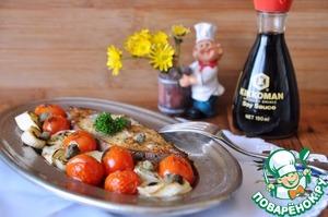 Подаём рыбу сразу горячей, украсив зеленью.    Приятного аппетита!