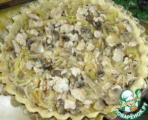 Куриную грудку режим на кусочки в сантиметр и обжариваем. грибы режим и обжариваем с тонко нарезанным перцем. адыгейский сыр крошим на мелкие кусочки ( 1 см) все смешиваем и заполняем заготовку