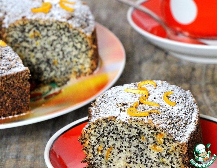 Рецепт: Кекс с маком и апельсином постный