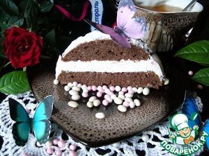 Сверху посыпать сахарной пудрой и острым ножом разрезать на пирожные