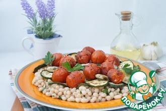 Рецепт: Тёплый салат из фасоли с овощами