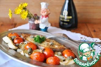 Рецепт: Палтус, запечённый с пореем и помидорами черри