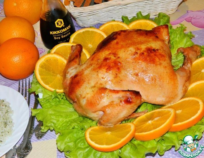 Рецепт: Курица в соево-апельсиновом соусе