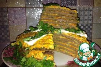Рецепт: Печеночный торт из куриной печени