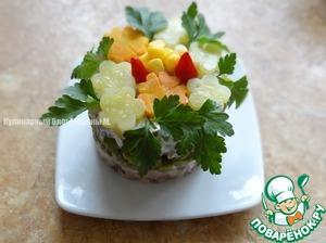 Добавить кукурузы, перчик маринованный пири-пири, зелень;