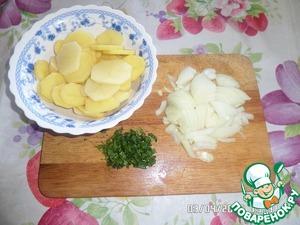 Нарезаем картофель, лук и зелень.