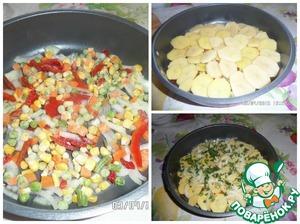 На противень наливаем 2 ст. л. растительного масла и выкладываем слоями : лук, овощное ассорти, картофель, зелень. Сверху сбрызнуть соевым соусом.