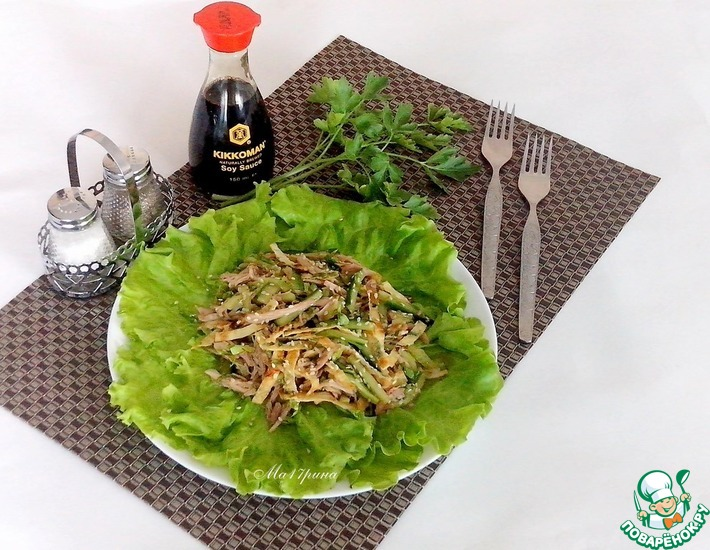 Рецепт: Салат с курицей и огурцом