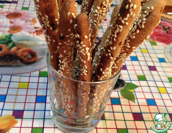 Рецепт: Хлебные палочки Гриссини из ржаной муки