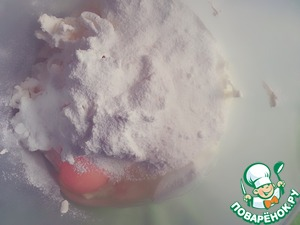 Then add the powdered sugar and egg.