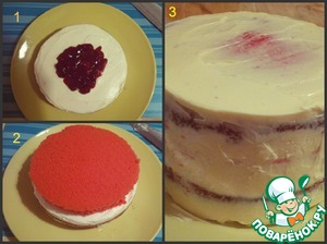 Put the cake together.  The bright Korzh coat with cream. In the middle put the cherry. Cover with a crust a darker color and also daubed cream. Cover the dark cake.  Cover the cake with cream Polish (just mix the ingredients with a mixer).  Put into the refrigerator for an hour.