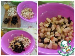 Нарезаем яблоки, чернослив, финики и хлеб. Выжимаем сок из половины апельсина. Все перемешиваем в чашке, добавив оставшийся мед. Начинка для утки готова.