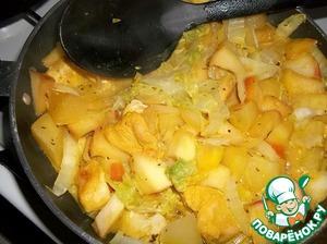 Минут через 15 перемешать, добавить соль и перец по вкусу. Продолжать тушить до готовности, открыть крышку и дать выпариться излишкам жидкости, помешивая.