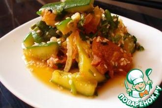 Рецепт: Острый салат с мясом и огурцами