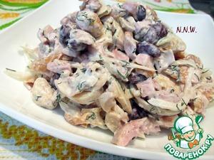 рецепт салат с копченым куриным мясом
