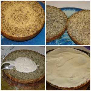 Бисквит разрезаем на тонкие коржи и смазываем полученным кремом. Отправляем бисквит пропитываться. А тем временем делаем шоколадно-масляный крем для украшения.