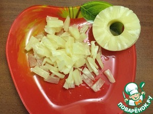 While the meat is marinating, prepare the filling. 4 washers of pineapple finely chop 4 cloves of garlic three grated